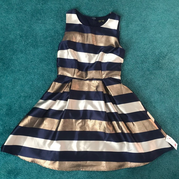 43728ba078d27 Red Dress Boutique Dresses | Navy Blue And Gold Striped Holiday ...